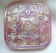 Czech Glass Button  XL Square Pink Glass Floral by ButtonOdyssey, $6.99
