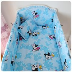 42.20$  Watch more here - http://ai4vq.worlditems.win/all/product.php?id=32310300933 - Promotion! 6PCS Mickey Mouse Crib Cot Bedding Set Soft Baby Sheet Crib Bumpers (bumper+sheet+pillow cover)