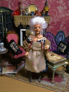 OOAK 5.5 inch Poseable Dollhouse Doll Halloween by LoreleiBlu, $187.00