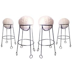 "Jean Royere Rare Documented Set of 4 Model ""Yoyo"" Bar Stools 