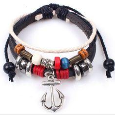 The Christian's Cross Anchor Cross Trendy Leather Multilayer Beaded Bracelet