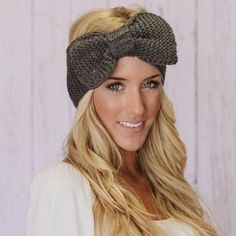 Knitted Bow Headband Oversized Bow Ear Warmer in by ThreeBirdNest, wide Pretty Hairstyles, Girl Hairstyles, Bandanas, Baby Girl Hair Bands, Winter Headbands, Bow Headbands, Bohemian Headband, Giddy Up Glamour, Hot Hair Styles