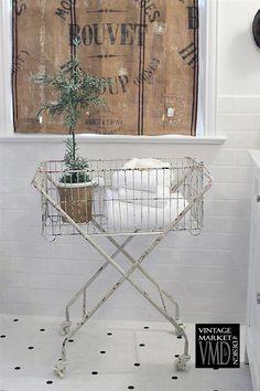 Cottage Chic Metal Basket w/ Wheels