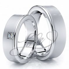0.10 Carat Chic Basic 6mm His and Hers Diamond Wedding Ring Set