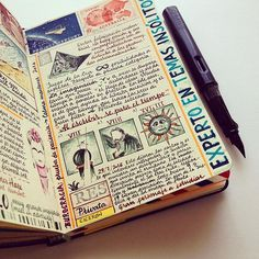 WEBSTA @ jose_naranja - Today's page. Time stops when writing. Sketch Journal, Journal Diary, Art Journal Pages, Art Journals, Travel Journals, Journal Ideas, Midori, Journal Notebook, Moleskine Notebook
