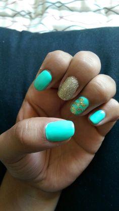 Shellac Nails, teal , gold, chevron. ❤