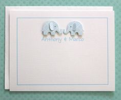 Powder Blue Lattice Print Twin Boys Elephant Baby Shower Thank You Cards  This listing is for a set of 10. When ordering choose - Quantity 1 = 10