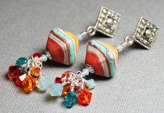 Handmade Jewelry Earrings Beaded Lampwork Crystal Southwest Southwestern Turquoise Aqua Orange Terra Cotta Silver...Painted Desert. $45.00, via Etsy.