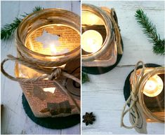 Adventskranz: Teelicht-Glas / DIY Advent Wreath: Tea Light Candle