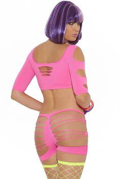 Hot pink gogo dancer neon booty shorts set