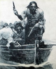 Blackbeard Approaching: Blackbeard and his crew approach in their longboats. This art was commissioned for Paine's serialized work on Blackbeard,[1] and published in: Paine, Ralph Delahaye (1922)  Frank Earle Schoonover (August 19, 1877 - September 1, 1972)