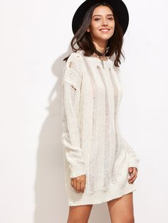 White Drop Shoulder Ripped Sweater Dress - classy womens fashion latest trends - http://airctb.com/product/white-drop-shoulder-ripped-sweater-dress/