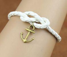 Anchor bracelet, leather bracelet, fabulous navy bracelet, infinity knot, god's gift, antique copper ,christmas gift