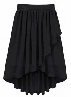 Black Ruffles Pleated High Low Skirt