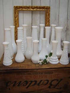 Collection of 16 Milk Glass Bud Vases
