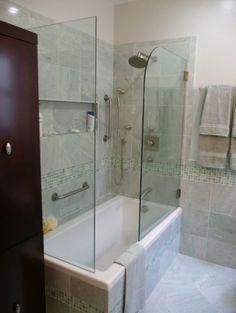 hinged half shower door