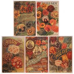 8 Assorted Seed Label Advertisement Stickers