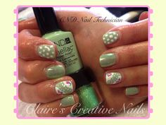 CND Shellac in Mint Convertible. See my Facebook page: Claire's Creative Nails to see how I created this look.