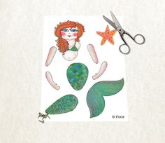 Articulated mermaid paper doll printable instant download to