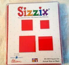 Sizzix 38-0304 Large Red Square Set Die Cut Scrapbook Provo Craft Ellison #Sizzix