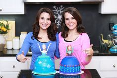 Made Princess Elsa and Anna Princess Cakes from the movie Frozen :)