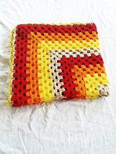 READY TO SHIP Crochet yellow brown and red by StephanieTwistedYarn