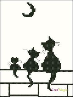 Broderie Mini chats et lune - Stella ✨ - Pint Pic Cat Cross Stitches, Cross Stitch Charts, Cross Stitch Designs, Cross Stitching, Cross Stitch Embroidery, Cross Stitch Patterns, Chat Crochet, Crochet Cross, Filet Crochet