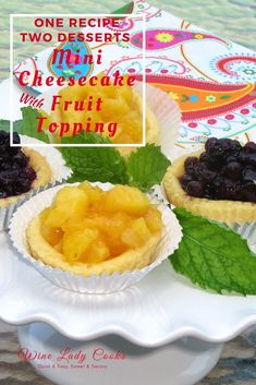 Easy Cheesecake recipe. Make one recipe and have two delicious desserts. #cheesecake #freshfruit #topping #easyrecipe #dessert