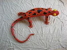 red lizard papier mache