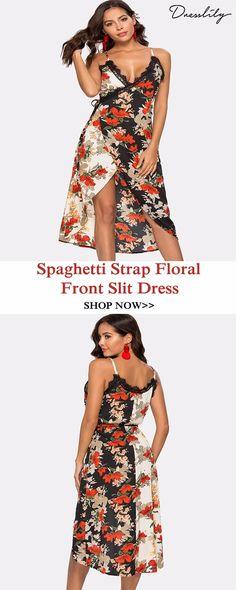 f51d2c79ece Spaghetti Strap Floral Print Front Slit Dress.Extra 12% off code DL123   dresslily  floraldress
