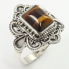 Ethnic Jewellery Ring Size US 7.25 Real TIGER'S EYE Gemstone 925 Sterling Silver #SunriseJewellers