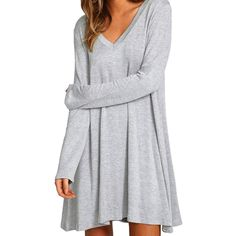 Casual V-neck Long Sleeve Elastic Knitted Loose Pure Color Dress for Ladies