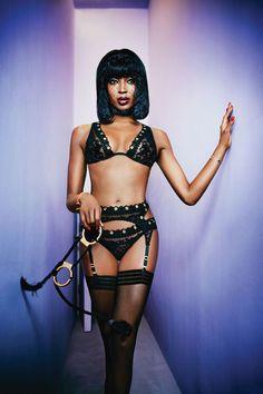 Models: Naomi Campbell  Photographer: Ellen Von Unwerth Courtesy Agent Provocateur   - HarpersBAZAAR.com - lingerie pictures, lingerie pages, lingerie for men