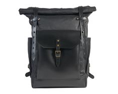 Black waxed canvas backpack with full leather pocket / Black roll top rucksack Canvas Backpack, Laptop Backpack, Travel Backpack, Waxed Canvas, Canvas Leather, Leather Roll, Black Leather, Black Backpack, Leather Backpack