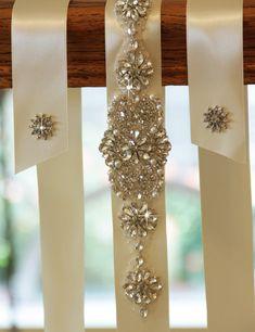 Wedding sash, Bridal belt , Bridal sash - satin ribbon with crystal and rhinestone beaded applique, custom color via Etsy