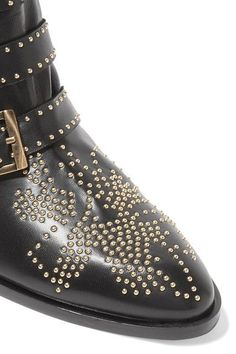 Chloé - Susanna Studded Leather Ankle Boots - Black - IT38