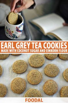 At last, an Earl Grey tea cookie made of unrefined flours and sugars, perfect for dipping into your favorite cup of hot tea this season. Easy Cookie Recipes, Sweet Recipes, Whole Food Recipes, Dessert Recipes, Bar Recipes, Baking Recipes, Tea Cookies, Yummy Cookies, Earl Grey Cookies