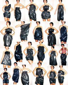 Дизайнер Diana Bobar наглядно показала, что не стоит изобретать велосипед: взяв обычный мешок для мусора, она завернулась в него 30 различными способами, тем самым показав нам, что: Нет ничего проще того, что кажется сложным. Платья — трансформеры позволяют выглядеть в них по-разному, даже если сшиты по крайне простой выкройке. Даже если Вы совершенно шить не умеете, мешок — то вы сможете сварганить