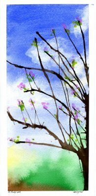 Watercolor background on water color paper, tree is strawblown tempra paint and flowers are painted on with qtips
