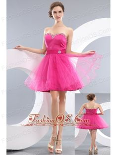 Lovely Hot Pink A-line / Princess Sweetheart Beading Short Prom / Homecoming Dress Mini-length Organza- $106.02  http://www.fashionos.com/   a line mini length prom dress   2013 mini length homecoming dress   junior prom evening dress   cheap plus size prom celebrity dress,latest popular prom graduation gown  