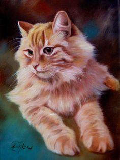 Painting Animal Cat portrait Custom Portrait Original handmade oil painting on canvas, Luxury looks, By Chris