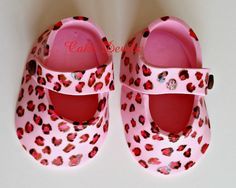 Leopard Print Fondant Baby Booties Baby Shower Cake Toppers by CakeDevils
