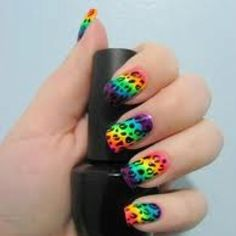 Black on the bottom and rainbow for the top. Use a toothpick or something like that to rub off the rainbow.