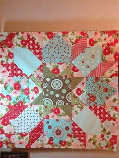 "Swoon block - this one is 36""x36"", just need to add the boarders and it will be done.  Moda Bliss fabric"