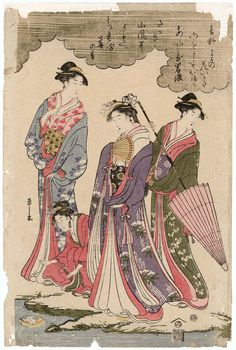 Ladies Viewing Cherry Blossoms beside a Stream  貴婦人花見 Japanese Edo period about 1793 (Kansei 5) Artist Chôbunsai Eishi (Japanese, 1756–1829)