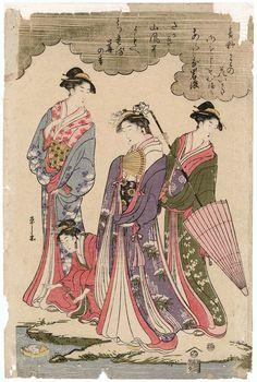 Ladies Viewing Cherry Blossoms beside a Stream  貴婦人花見 Japanese Edo period about 1793 (Kansei 5) Artist Chôbunsai Eishi (Japanese, 1756–1829)