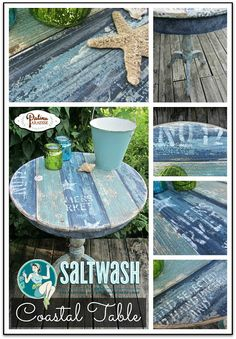 Coastal Table With Faux Plank Boards & Saltwash - Patina Paradise