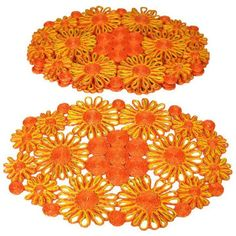 1970s Floral Raffia Placemats - Set of 4 ($69) ❤ liked on Polyvore featuring home, kitchen & dining, table linens, kitchen accessories, orange kitchen accessories, floral table linens and yellow kitchen accessories