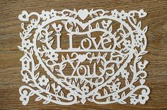 I Love You Shabby Chic Papercut Template by papercutperfection
