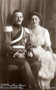 Prince Franz of Bavaria (1875-1957) and his wife Princess Isabelle de Croy (1890-1982).  Franz was the third son of King Ludwig III of Bavaria and his wife, Princess Maria Theresia of Austria-Este.  Franz married lovely Princess Isabella Antonie of Croy.  They had six children.